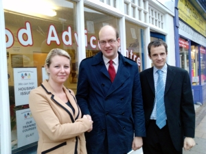 From left: Kate Broom, Mark Reckless MP and Paul Robinson at Strood Community Project