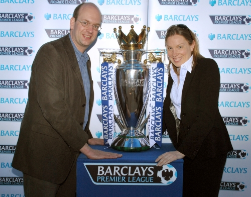 MPs Mark Reckless and Tracey Crouch with Barclays Premier League Trophy