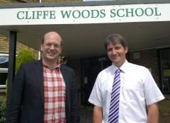 Mark Reckless congratulates Principal Tim Watson of Cliffe Woods Primary School on conversion to Academy