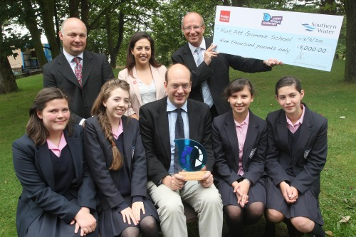 'Pupils from Fort Pitt Grammar, together with teacher Peter Courtness, receive the 2011 Water Design Challenge trophy from Mark Reckless MP. Also pictured are Jon Crooke from Southern Water and Bel Read from the Design Council'