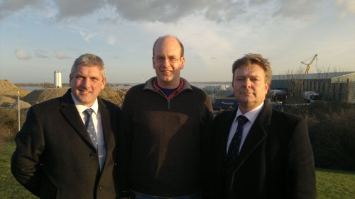 From left: Cllr Andrew Mackness, Mark Reckless MP and Cllr Craig Mackinlay welcome campaign success