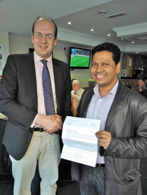 Mark Reckless MP congratulates Cliffe Spice owner Sheikh Islam on nomination