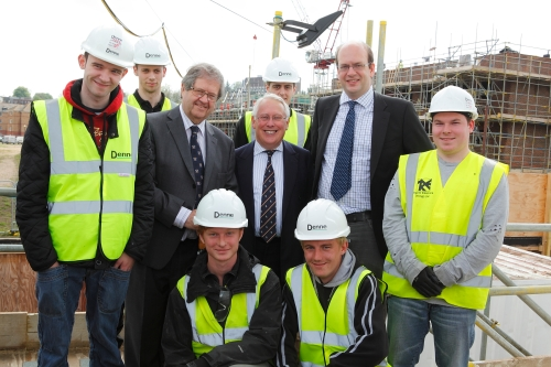 Bob Neil, Mark Reckless and Rodney Chambers with apprentices at Rochester riverside