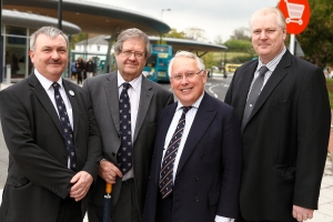 Miniter Bob Neill with Cllrs Alan Jarrett and Rodney Chambers and Glen Shuttleworth and bus station in Chatham