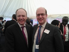 Simon Fairman, of Grain LNG and Mark Reckless MP at the official opening of the new heatpipe in Grain